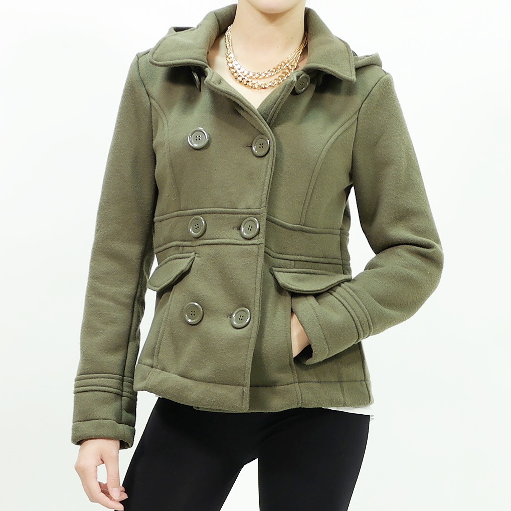 Button-Up removable hoodie cotton fleece Coat Olive