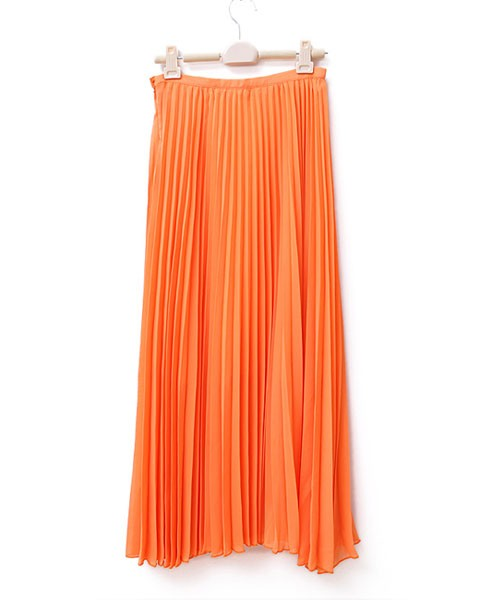 Orange Maxi Skirt with Pleats