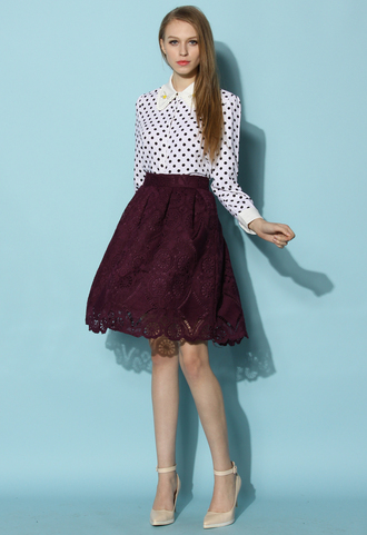 skirt chicwish pruple lace skirt floral lace spring outfits