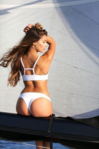 swimwear back detail bikini brazilian bikini cheeky bikini white brallette white