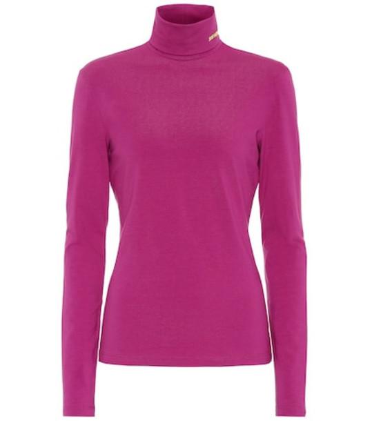 Calvin Klein 205W39NYC Stretch-cotton turtleneck top in pink