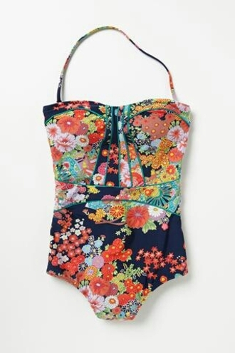 swimwear oriental print 50s style bustier swim colorful flowers flowery patteren dark blue navy beautiful