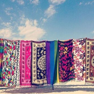 scarf tapestry boho bohemian hippie indie colorful print tribal pattern ethnic summer holidays summer accessories