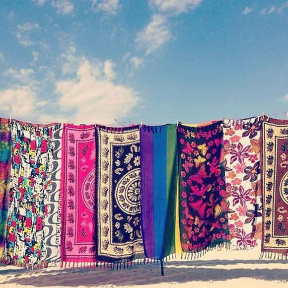 tribal pattern boho ethnic hippie indie scarf tapestry colourful print