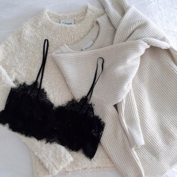 underwear top sweater white warm black brand lace top knitwear knitted sweater bra lace lace lingerie lace bralette lace bra