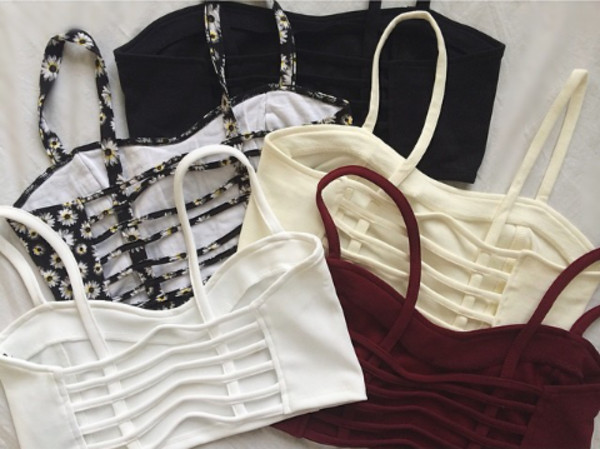 shirt black ivory burgundy bralette white floral crop tops caged bralette tank top grunge t-shirt