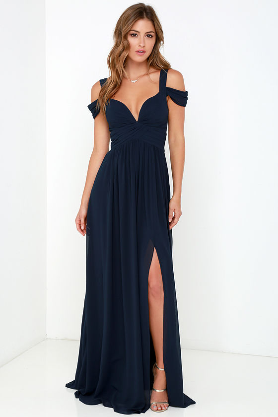 Bariano Ocean of Elegance Navy Blue Maxi Dress