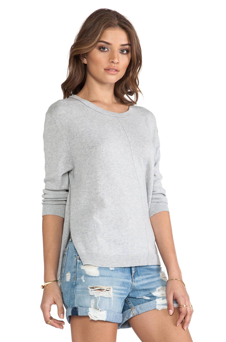 360 Sweater Celeste Star Cashmere Sweater in Heather Grey & Ivory Star | REVOLVE