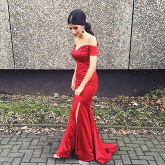 dress red dress red prom dress long prom dress prom red prom dress slit dress