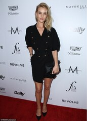 dress,mini wrap dress,wrap dress,black dress,pumps,mini dress,pointed toe pumps,black pumps,rosie huntington-whiteley,model