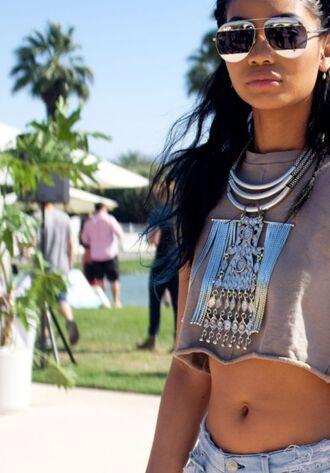 jewels top crop tops coachella chanel iman festival music festival sunglasses summer necklace