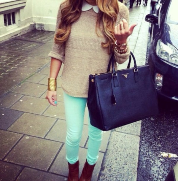 bag sweater clothes pants mint mint green jeans jeans shirt jumper boots coat green white blouse