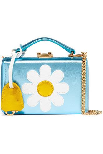mini metallic bag shoulder bag leather blue