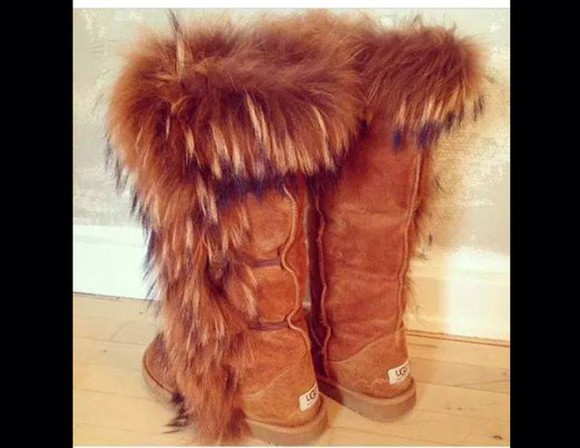 fur fashion boots brown ugg boots cute