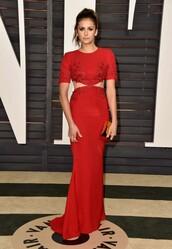 dress,gown,red carpet dress,oscars 2015,nina dobrev