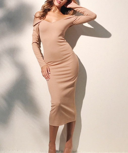 dress girly nude nude dress knit off the shoulder off the shoulder dress bodycon dress bodycon body midi dress