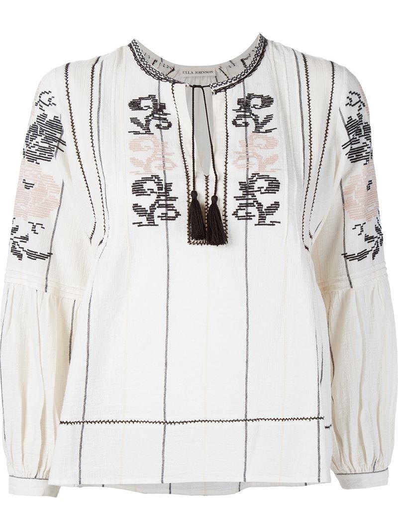 Ulla Johnson Embroidered Chiffon Lida Blouse - - 504540008