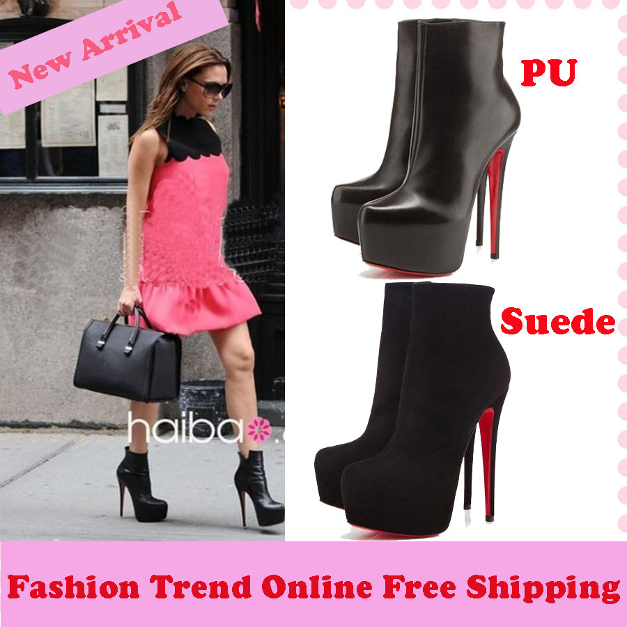 2013 New Autumn Winter Red Bottom Platform Ultra High Heels Women Boots Pumps Ankle Boots for Women Female Sapatos shoes Black-in Boots from Shoes on Aliexpress.com