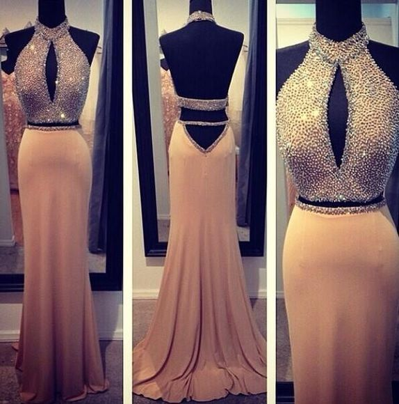dress sexy backless dress prom prom dress beige dress jewels two-piece halter dress halter top backless prom dress cut-out long dress dess long dresses prom desses homecoming dress formal dress formal party dresses long prom dresses sequin dress, gold, sparkles, glitter, sleeveless gold dress prom gown open back prom dress