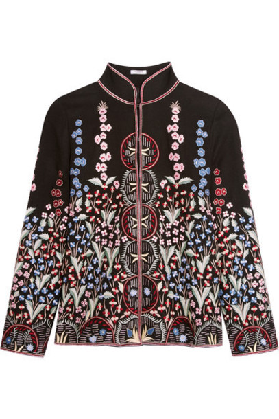 Vilshenko - Annie Embroidered Wool And Cashmere-blend Jacket - Black