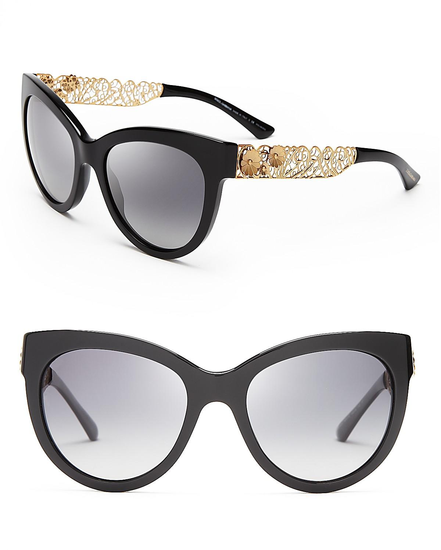 Dolce&Gabbana Polarized Cat Eye Floral Filigree Sunglasses | Bloomingdale's