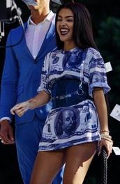 dress,money,malu trevejo,shirt dress,blue,white