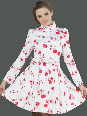 jacket trench coat floral flowers flower print cute