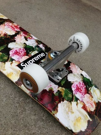 home accessory skateboard skater supreme flowers black white pink green wheels ride fashion skaterboardaddict