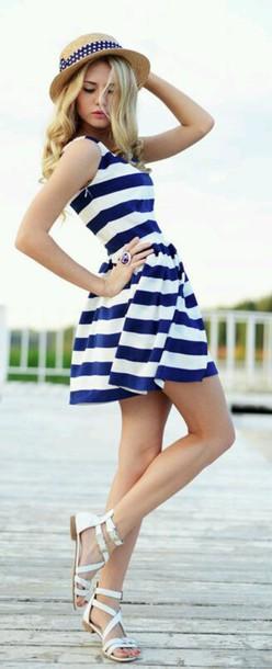 dress blue dress striped dress summer summer dress summer outfits stripes navy navy dress white white dress white and blue striped dress