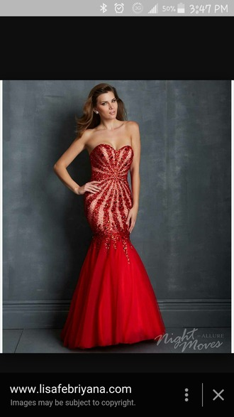 dress bedazzled sparkle prom red redpromdress