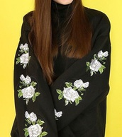 sweater,embroidered,girly,black,floral,flowers,tumblr,oversized sweater