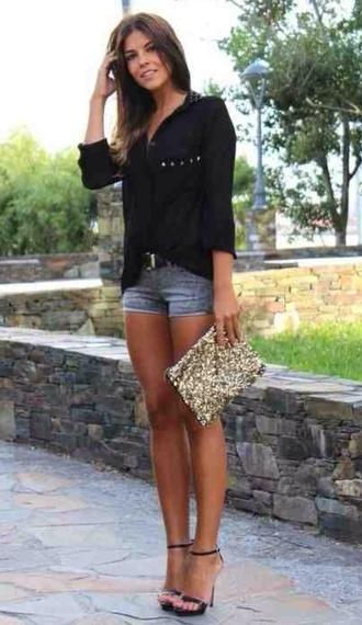 blouse black button down sheer shoes