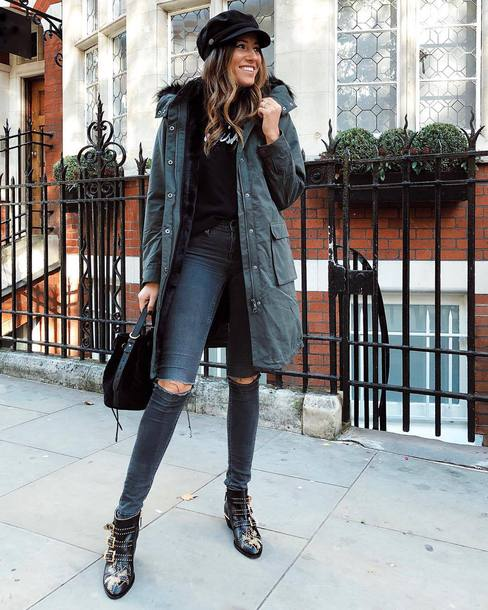 coat faux fur coat jeans grey jeans skinny jeans ripped jeans boots ankle boots handbag black t-shirt fisherman cap