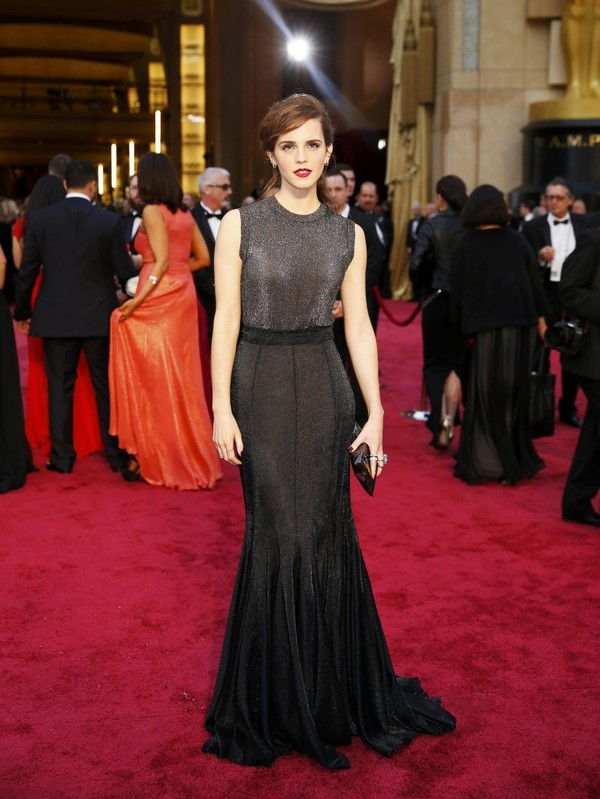 dress silver black long dress prom dress emma watson