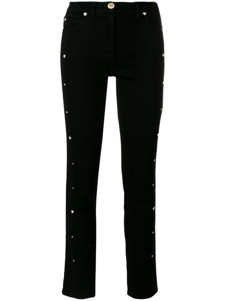 VERSACE jeans cropped jeans cropped women cotton black