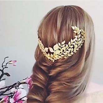 hair accessory accessories gold hair long hair greek goddess leaves black pretty