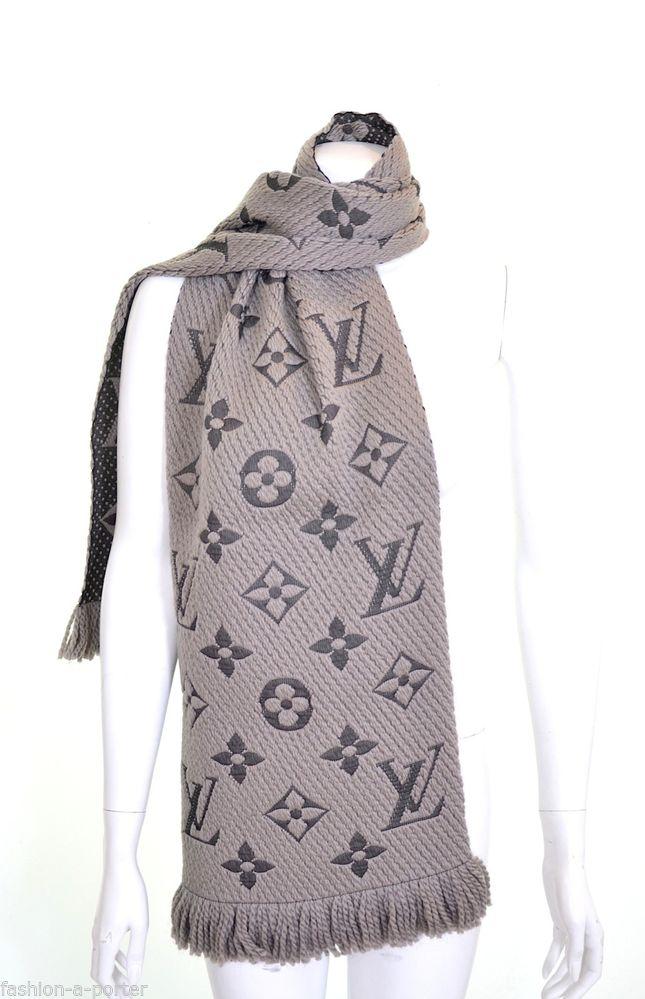 louis vuitton men u2019s grey lv monogram winter scarf bnwt 100 authentic receipt
