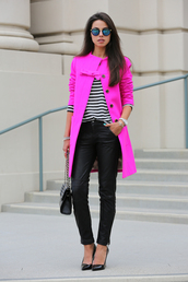 viva luxury,jewels,coat,pants,bag,shoes,t-shirt,bright pink,style,jacket,pink dress,pink coat,fashion,chic,outerwear,fall outfits,bows,pretty,los angeles,streetwear,clothes,pea coat,buttons,trench coat,cotton,magenta
