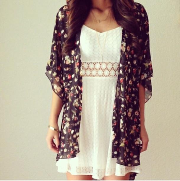 dress white dress daisy lace weheartit weretoget