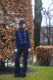 a portable package,blogger,navy,fisherman cap,flare pants,jacket