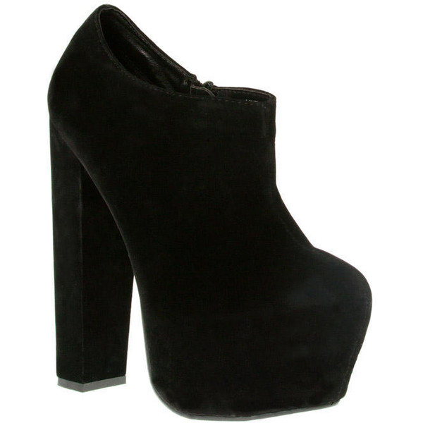 Black Suede Chunky Heel Ankle Boots - Footwear - desirecloth... - Polyvore