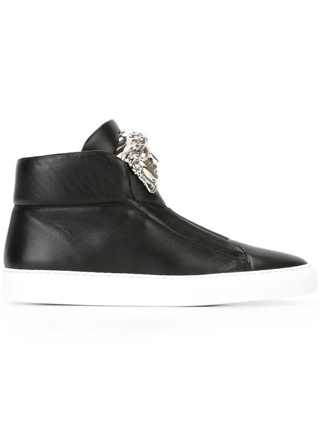 VERSACE women sneakers leather black shoes