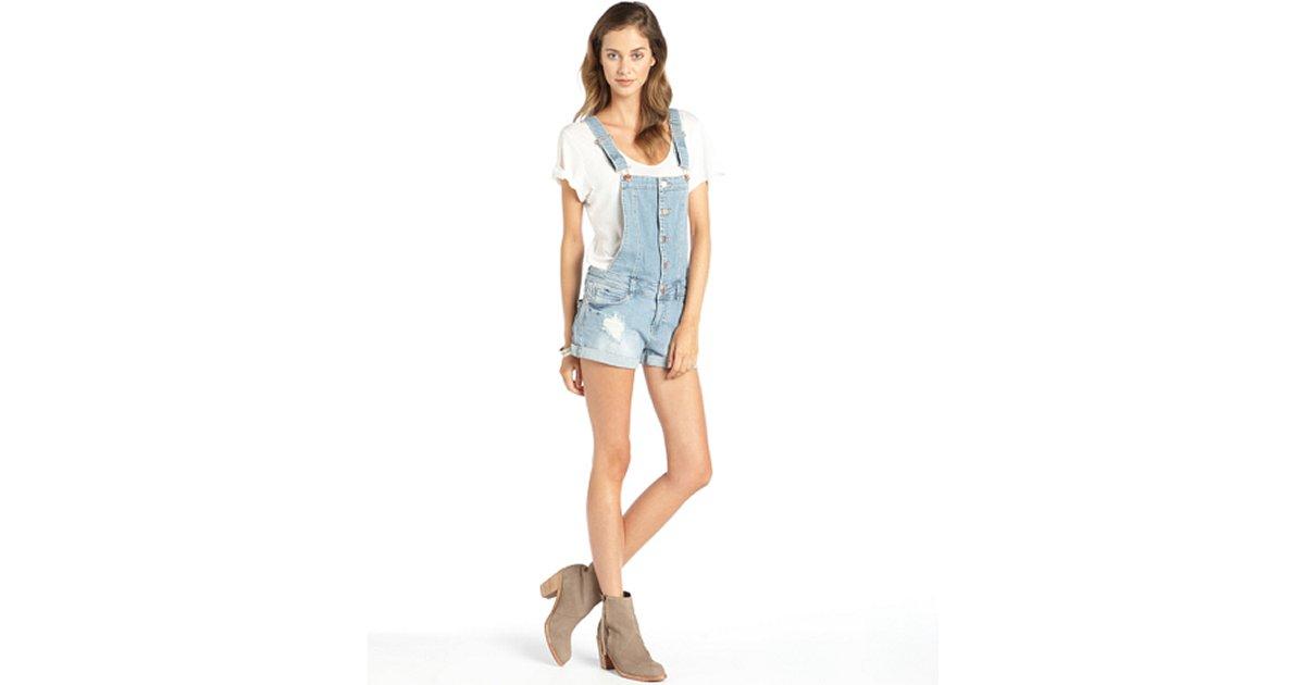 TINSEL light wash distressed stretch denim shorts overalls | BLUEFLY up to 70% off designer brands