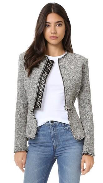 jacket peplum jacket studs ball white black black and white