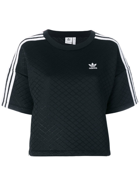 Adidas t-shirt shirt t-shirt women spandex quilted black top