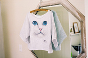 sweater,cats,t-shirt,hipster,tumblr clothes,tumblr,cat eye,cat shirt,cat shirts,white shirt