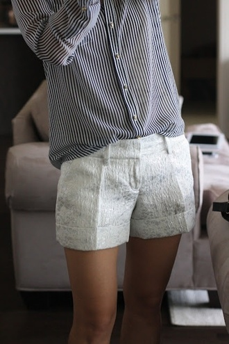 blouse blue pinstripe blouse pinstripe blue and white blue and white striped shorts white shorts