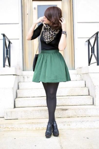 skirt green circle skirt tights shoes shorts blouse bag