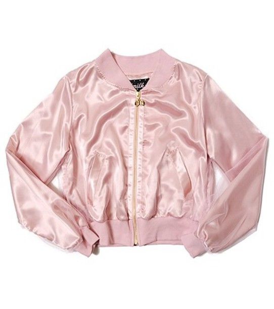 Jacket: pink, pink jacket, cute, baby pink, gold, silk, baby pink ...