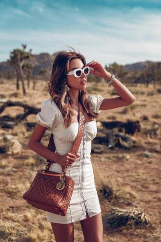 viva luxury blogger dress sunglasses shoes bag brown bag mini dress white dress spring outfits